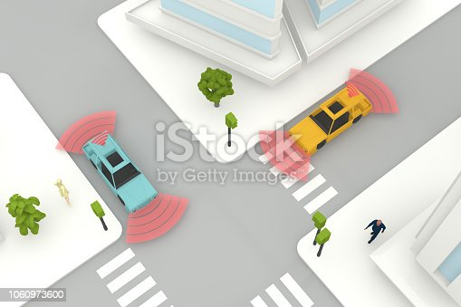 istock Autonomous, Self Driving, Driverless, Connected Car, Smart City Concept 1060973600