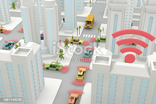 istock Autonomous, Self Driving, Driverless, Connected Car, Smart City Concept 1061145226