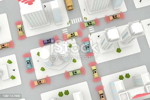 istock Autonomous, Self Driving, Driverless, Connected Car, Smart City Concept 1061147692