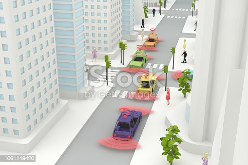 istock Autonomous, Self Driving, Driverless, Connected Car, Smart City Concept 1061149420