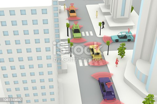 istock Autonomous, Self Driving, Driverless, Connected Car, Smart City Concept 1061149692