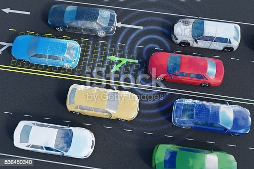 istock Autonomous self-driving car is analyzing traffic situation on the road with sensors and artificial intelligence. 836450340