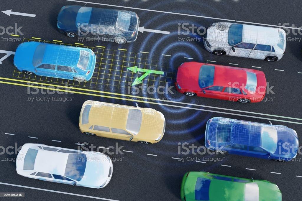 Autonoma självkörande bil är att analysera trafiksituationen på vägarna med sensorer och artificiell intelligens. bildbanksfoto