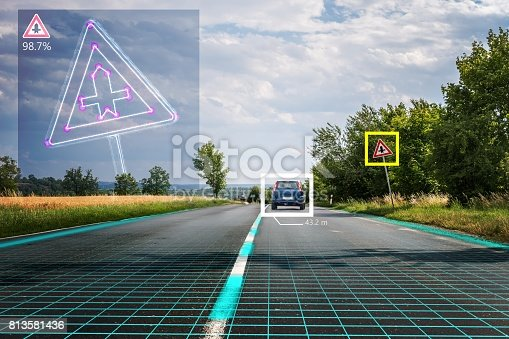 istock Autonomous self-driving car is recognizing road signs. Computer vision and artificial intelligence concept. 813581436