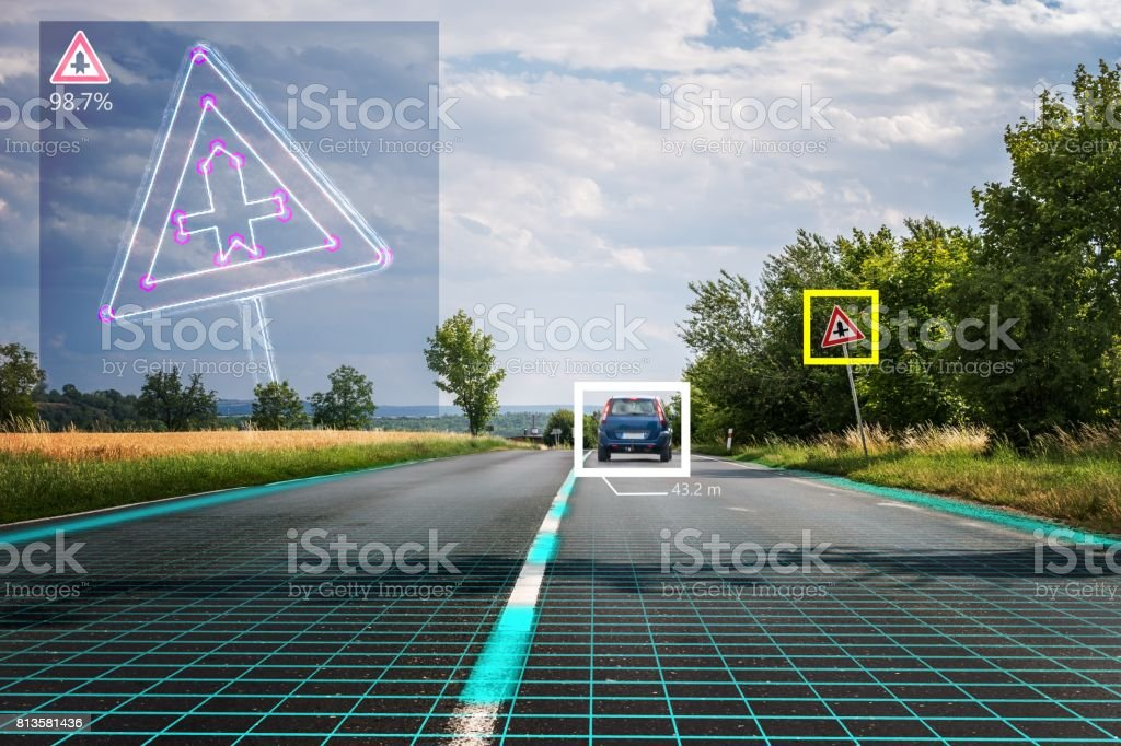 Autonomous self-driving car is recognizing road signs. Computer vision and artificial intelligence concept. stock photo