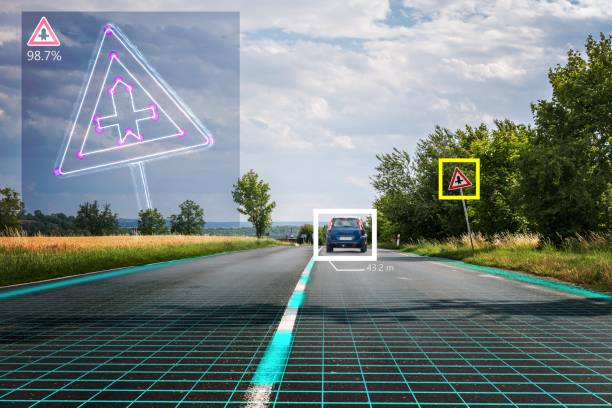 autonomous self-driving car is recognizing road signs. computer vision and artificial intelligence concept. - self driving car stock photos and pictures