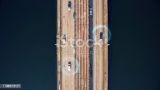 870169952 istock photo Autonomous self-driving cars on city bridge, aerial top view. Driverless autos and artificial intelligence system with sensors wireless communication. Future transportation technology concept 1198313121