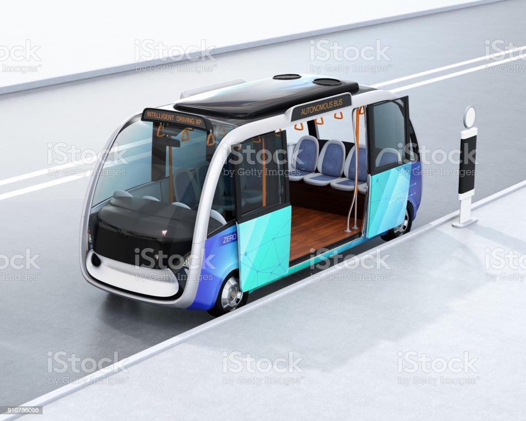 Autonomen Shuttlebus warten am Busbahnhof – Foto