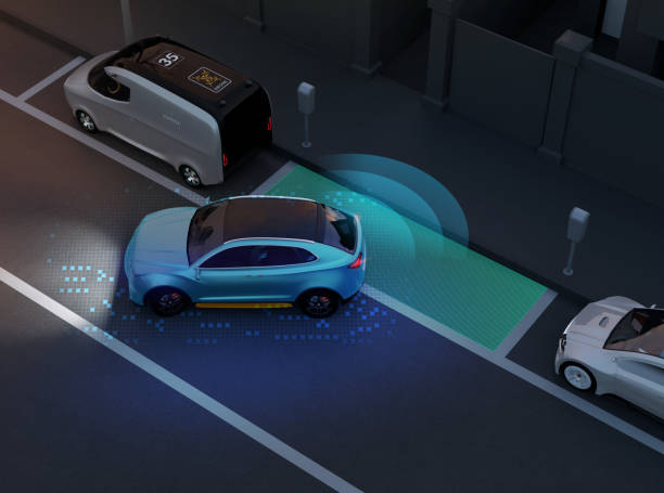 autonome suv is parallelle parkeren in parkeerplaats langs weg - parallel stockfoto's en -beelden