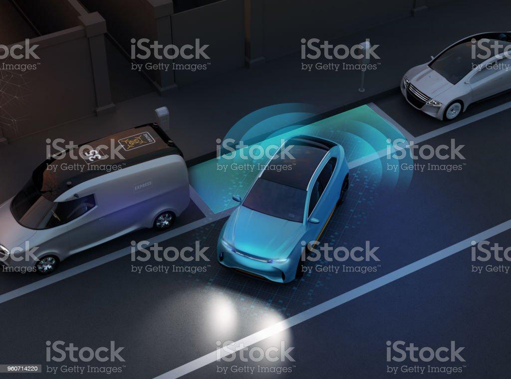 Autonomous SUV is parallel parking into parking lot at roadside stock photo