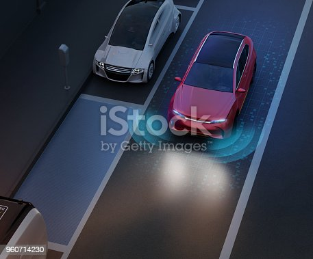 istock Autonomous SUV is parallel parking into parking lot at roadside 960714230