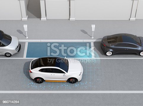 istock Autonomous SUV is parallel parking into parking lot at roadside 960714254