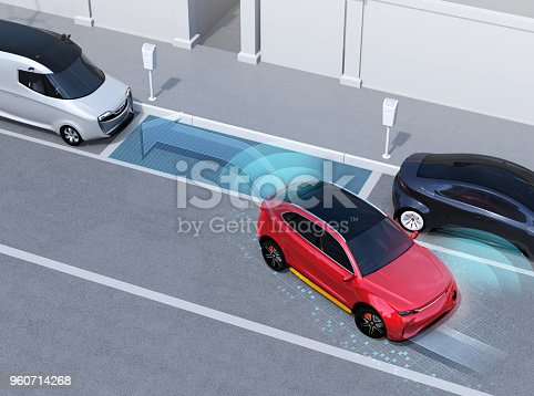 istock Autonomous SUV is parallel parking into parking lot at roadside 960714268