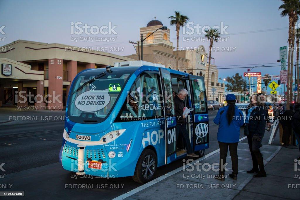Autonomous vehicle - Downtown Las Vegas stock photo
