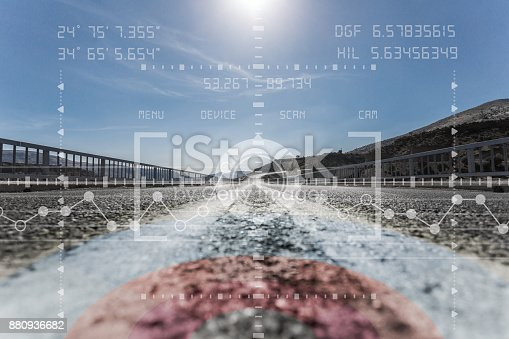 istock Autonomous vehicle viewfinder point of view 880936682