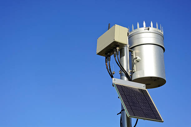 autonomous weather station with wireless transmission - rain gauge stock photos and pictures