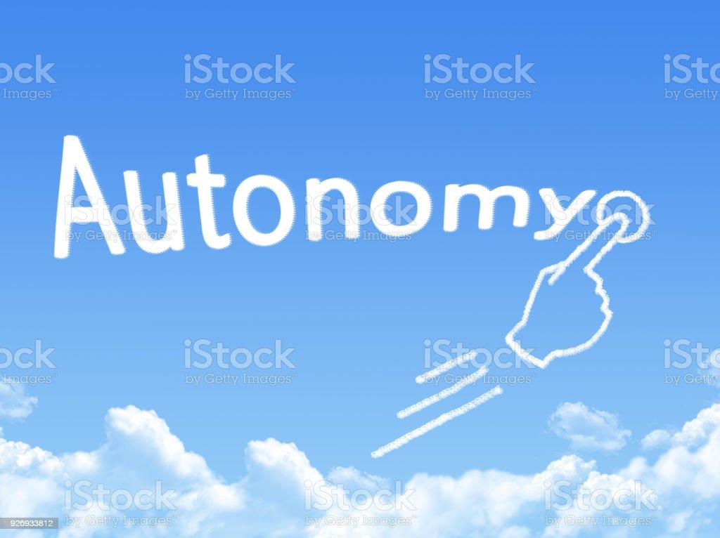 autonomy message cloud shape stock photo