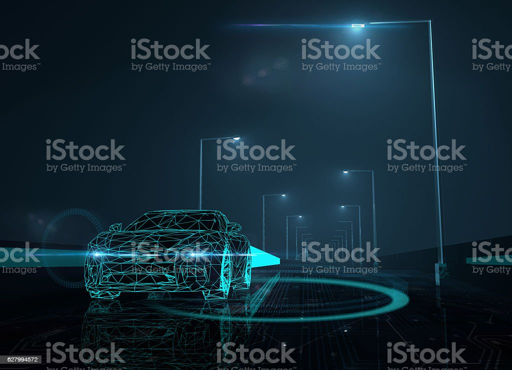 Autopilot self drive vehicle stock photo