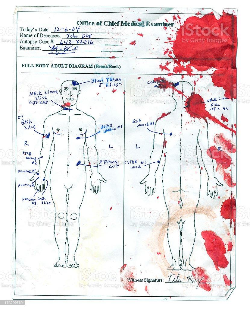 Autopsy Report - Stabbing Victim royalty-free stock photo