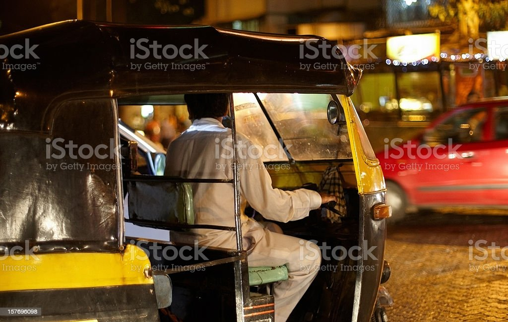 Autorickshaw at night in Mumbai royalty-free stock photo