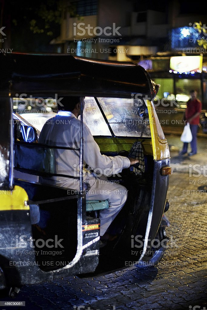 Autorickshaw at night in Mumbai royalty-free stock photo