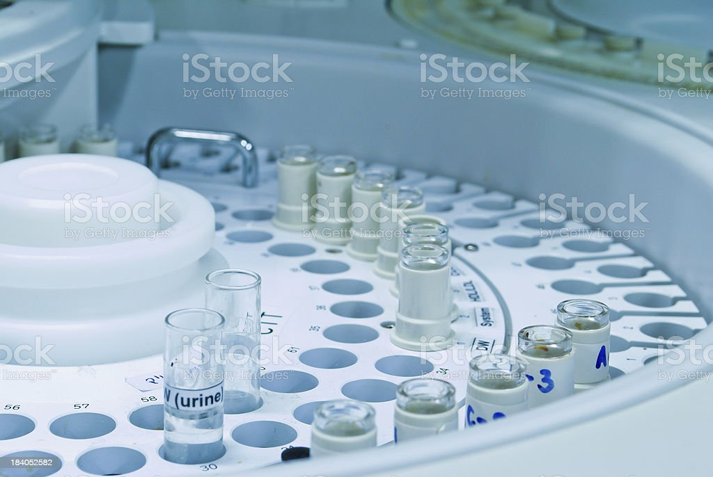 Autosampler loaded with samples stock photo