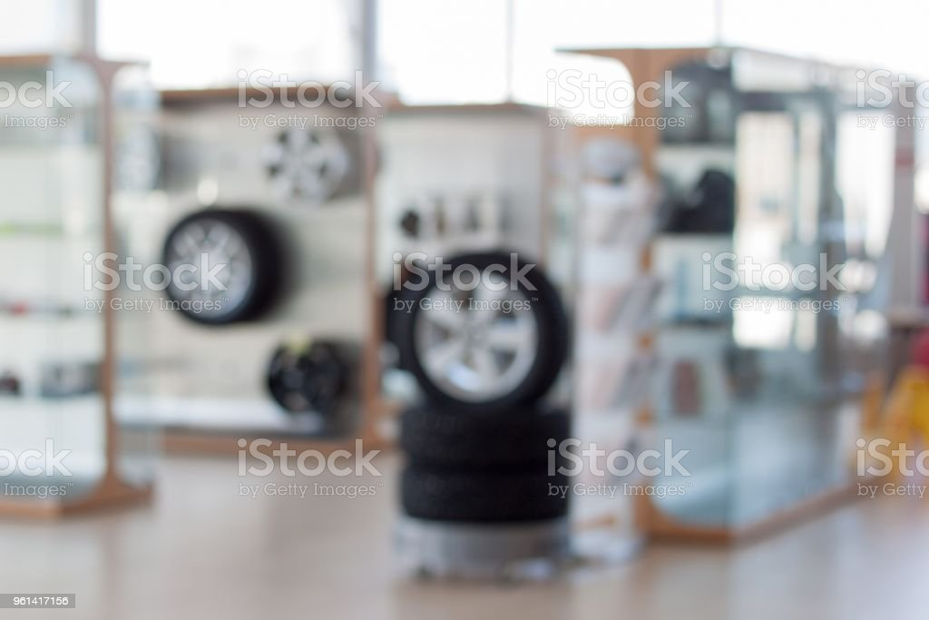 Autoshop. Spare parts and accessories. Themed blur background. stock photo
