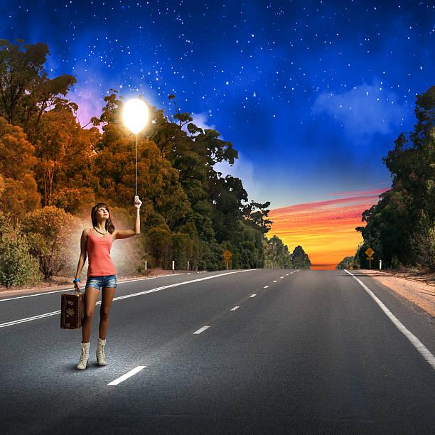 Autostop traveling stock photo