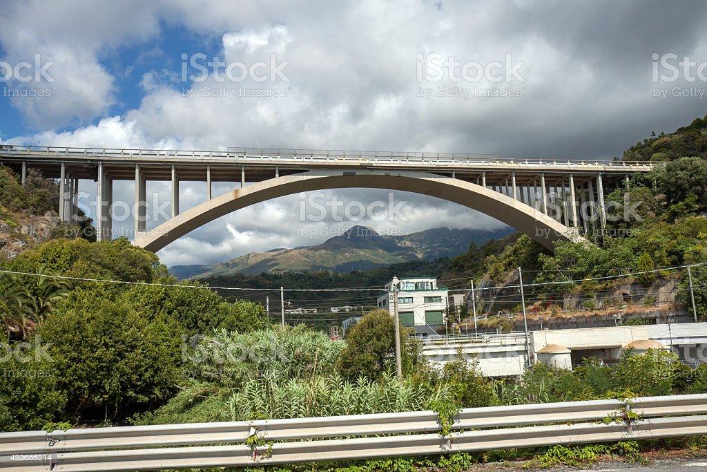Autostrada A10 Genova - Ventimiglia near Cogoleto stock photo