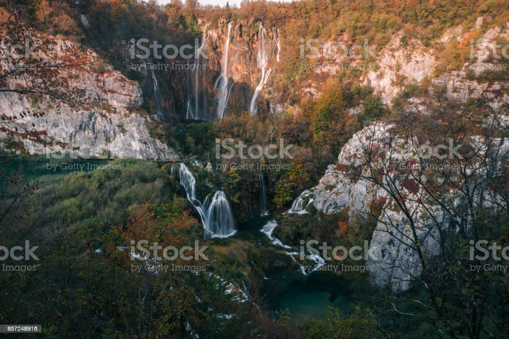 Autum colors and waterfalls of Plitvice National Park in Croatia stock photo