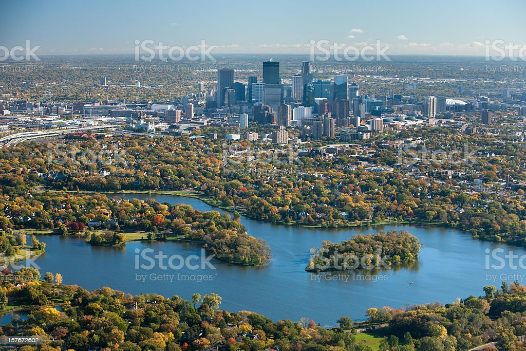 Autumn aerial view of Minneapolis, Minnesota. Autumn aerial view of Minneapolis, Minnesota, taken from the south looking north of Lake of the Isles. Aerial View Stock Photo