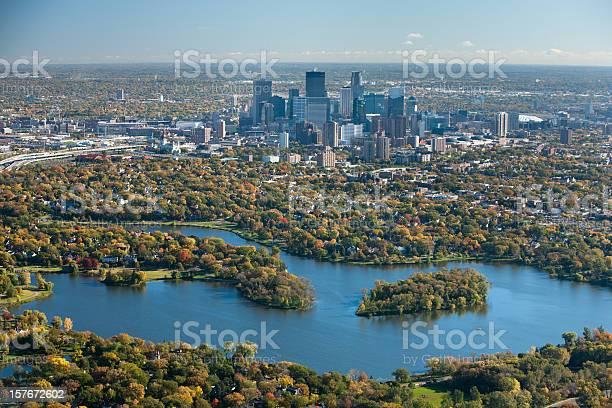 Autumn Aerial View Of Minneapolis Minnesota Stock Photo - Download Image Now