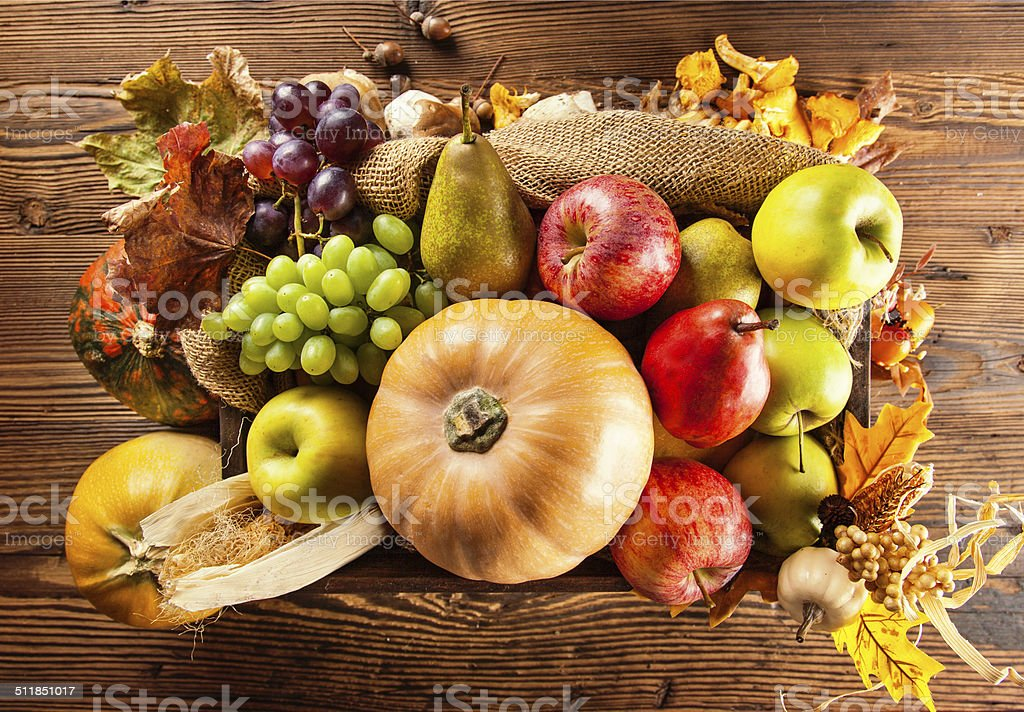 Autumn agriculture products on wood stock photo