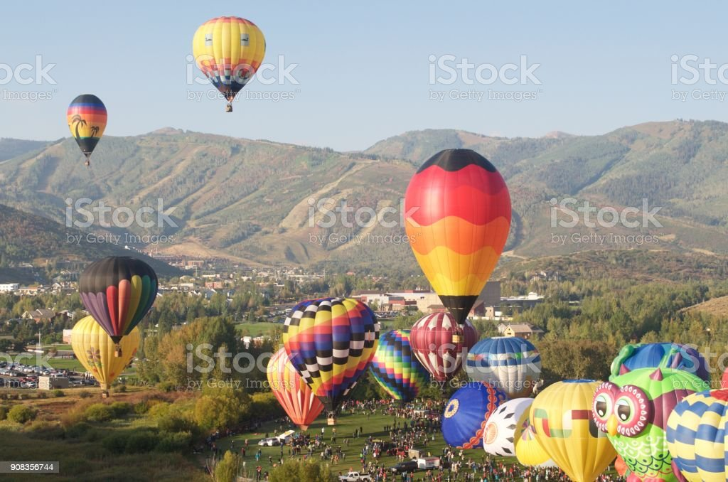 Autumn Aloft Hot Air Balloon Festival Park City Utah - Royalty-free Ballooning Festival Stock Photo