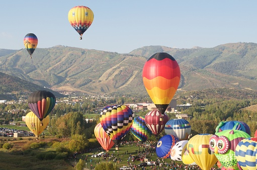 Autumn Aloft Hot Air Balloon Festival Park City Utah Stock Photo - Download Image Now
