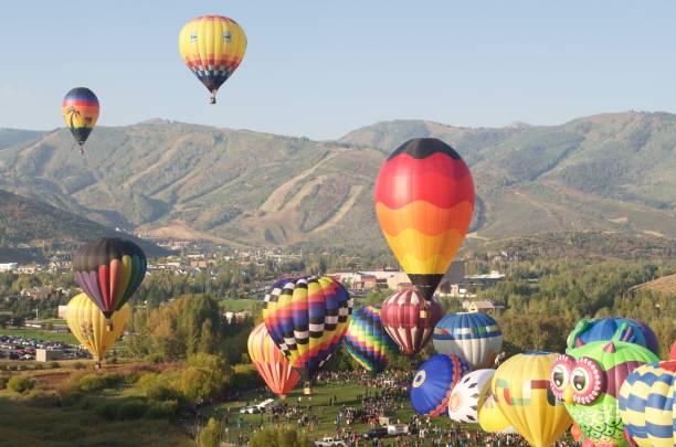 Autumn Aloft Hot Air Balloon Festival Park City Utah stock photo