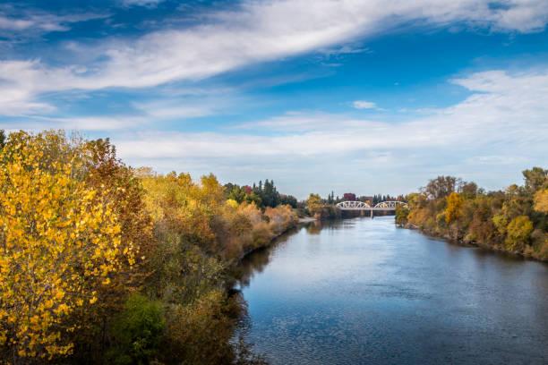 Autumn Along the American River stock photo