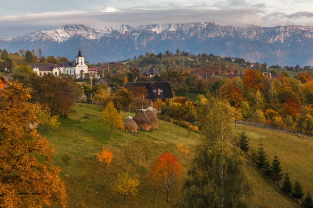 autumn alpine landscape, alpine village with spectacular gardens and high snowy mountains in background near bran, magura, transylvania, romania. - romania foto e immagini stock