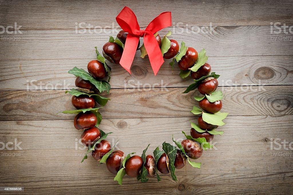 Autumn and christmas wreath stock photo