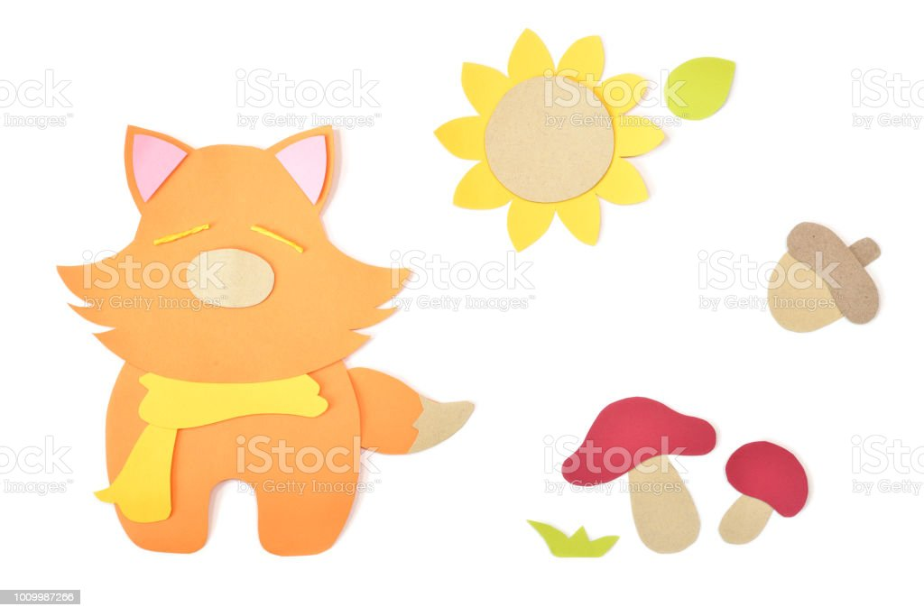 Autumn animal paper cut on white background stock photo