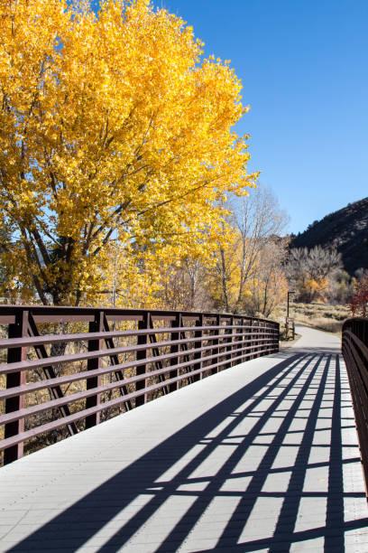 Autumn Animas river trail footbridge in Durango, Colorado Pedestrian bridge on the Animas river trail over the Animas river in Durango, Colorado with colorful autumn trees animas river stock pictures, royalty-free photos & images