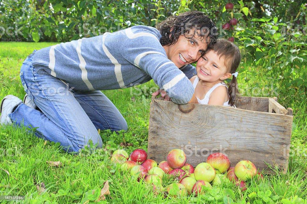 Autumn Apple - Nice Father Daughter royalty-free stock photo