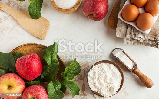Autumn Apple pie. Ingredients for Apple pie, Charlotte and an empty space for the recipe. Copy space. Autumn mood. High quality photo