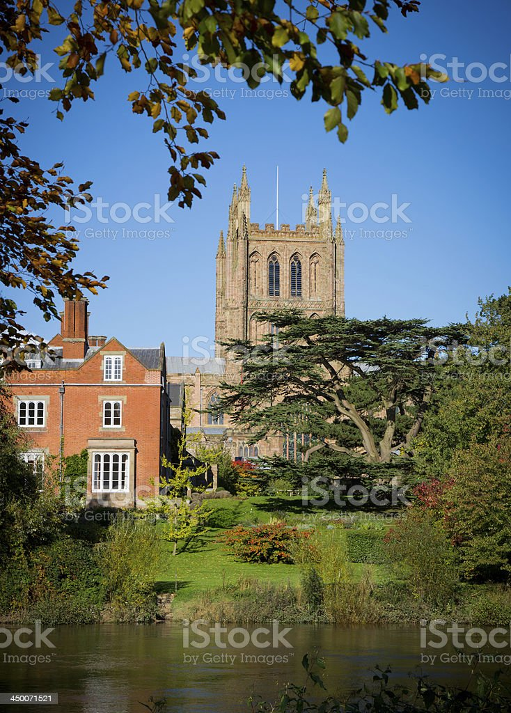 Autumn arrives at Hereford Cathedral royalty-free stock photo
