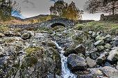 A view of Ashness Bridge, Cumbria, Lake District, England.