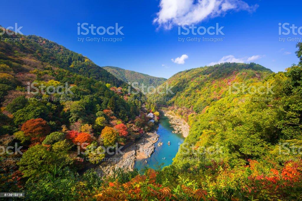 Autumn at Arashiyama view point and Hozu river - foto stock