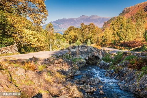 Ashness Bridge and Skiddaw above Derwent Water in the English Lake District, now a Unesco World Heritage Site