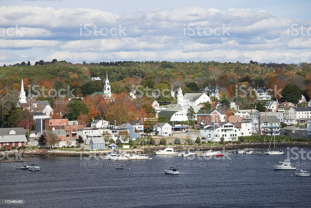 Autumn at Bucksport Maine from across Penobscot River stock photo