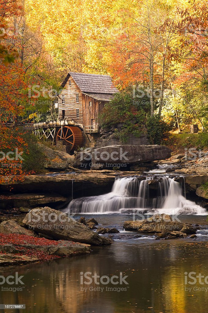 Autumn at Glade Creek Mill Waterfall Colorful Serene stock photo