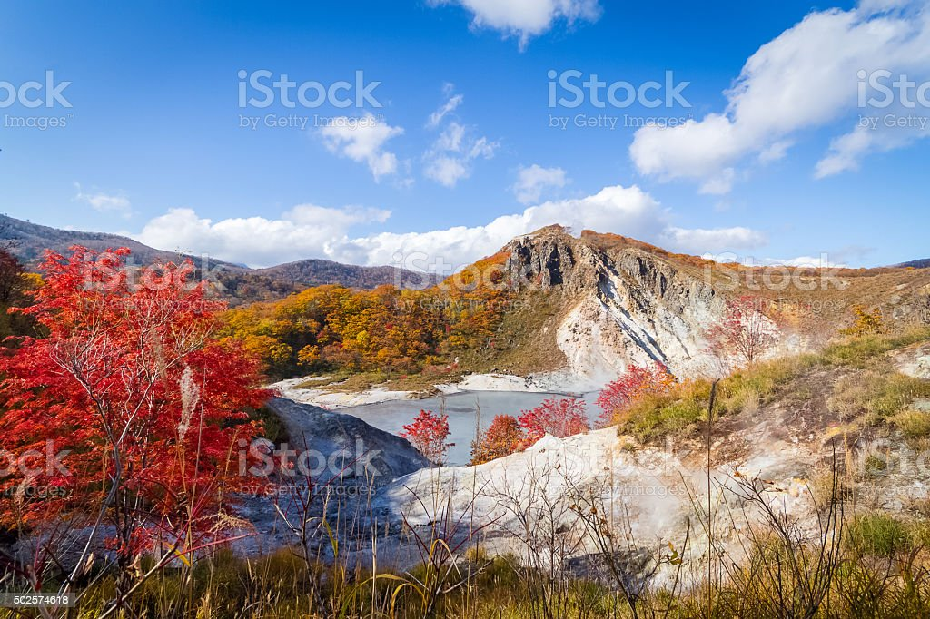 autumn at Jigokudani hell valley, Hokkaido, Japan royalty-free stock photo